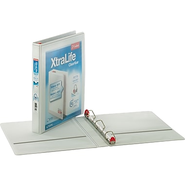 Cardinal XtraLife ClearVue 1-Inch Slant D 3-Ring View Binder, White (26300)