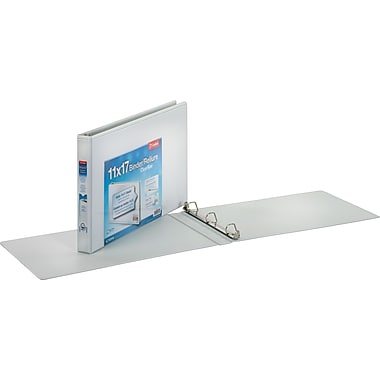 1in. Cardinal® 11 x 17  ClearVue Slant-D® Ring Binders, White,