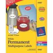 Avery® 6583 Multipurpose White Oval Labels, Permanent, 1-1/2 x 2-1/2,  270/Pack