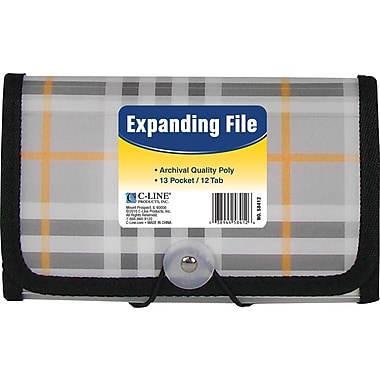 C-Line 13 Pocket Expanding File, Coupon Size, Plaid