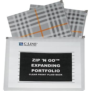 C-Line® ZipNGo Expanding Portfolio, Letter size, Plaid/Clear
