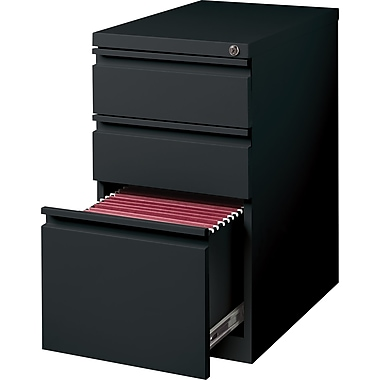 Staples 3-Drawer Mobile Pedestal File Cabinet, Black (20-Inch)