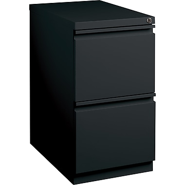 Staples 20in. Deep, 2-Drawer, Mobile Pedestal File, Black