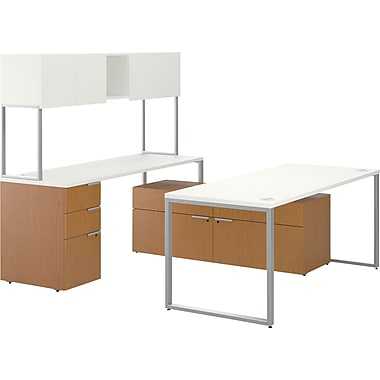 HON Voi Layered U-Station/Stack-on Hutch and Low Credenza with 4 Drawers, Silver Mesh/Harvest