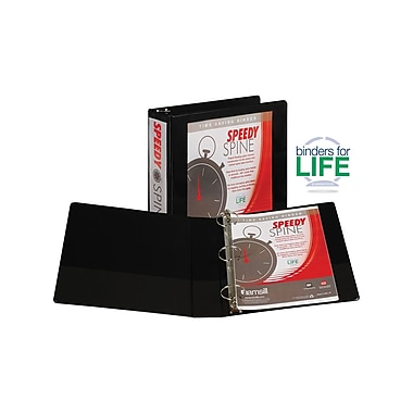 Samsill Speedy Spine 2-Inch Round 3-Ring View Binder, Black (18160C)