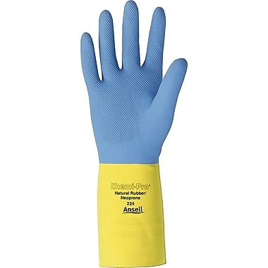 Ansell® Chemi-Pro® Neoprene Gloves, Natural Rubber, Pinked Cuff, X-Large, Yellow/Blue, 12 Pairs