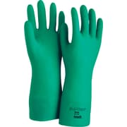 Ansell® Sol-Vex® Unsupported Nitrile Gloves, Flock, Straight Cuff, Medium, Green, 12 Pairs