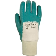 Ansell® Easy Flex® Coated Gloves, Nitrile, Knit-Wrist Cuff, Medium, Aqua
