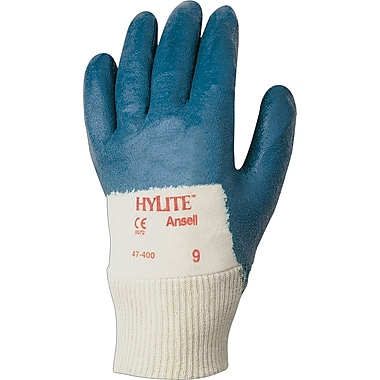 Ansell® HyLite® Palm Coated Gloves, Nitrile, Knit-Wrist Cuff, Medium, Blue, 12 Pairs