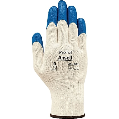 Ansell® ProTuf™ Coated Gloves, Nitrile, Knit-Wrist Cuff, Small, White, 12 Pairs