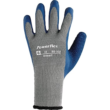 Ansell® PowerFlex® Coated Gloves, Poly/Cotton Knit, Continuous Cuff, X-Large, Gray/Blue