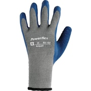 Ansell® PowerFlex® Coated Gloves, Poly/Cotton Knit, Continuous Cuff, Medium, Gray/Blue