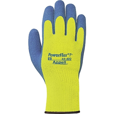 Ansell® PowerFlex® Coated Gloves, Natural Rubber Latex, Knit-Wrist Cuff, Medium, Hi-Viz Yellow