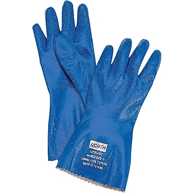 North® Nitri-Knit™ Coated Gloves, Nitrile, Pinked Cuff, Large, Blue