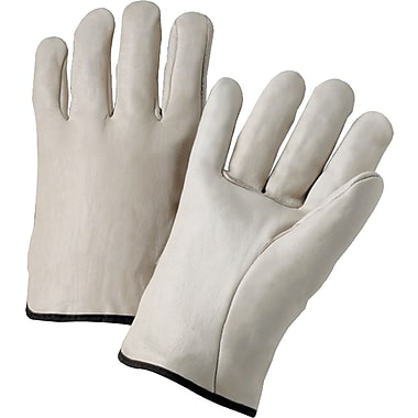 Anchor Brand Standard Driver Gloves, Cowhide Leather, Hemmed Cuff, Medium, Natural, 12 Pairs