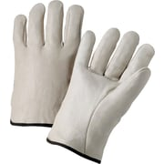 Anchor Brand Standard Driver Gloves, Cowhide Leather, Hemmed Cuff, Large, Natural, 12 Pairs