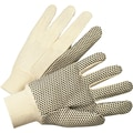 Anchor Brand Canvas Gloves, Cotton, Knit-Wrist Cuff, White, Medium