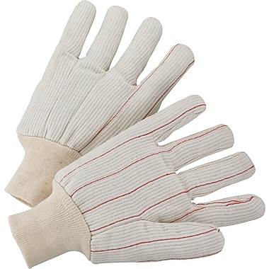 Anchor Brand Canvas Gloves, Fully Corded Cotton, Knit-Wrist Cuff, Large, White
