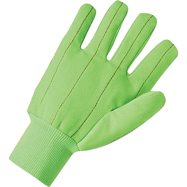 Anchor Brand Canvas Gloves, Poly/Cotton, Knit-Wrist Cuff, Large, Hi-Viz Green