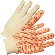 Anchor Brand Dotted Canvas Gloves, Cotton, Knit-Wrist Cuff, Large, Orange