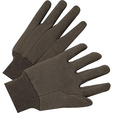 Anchor Brand Jersey Gloves, Cotton, Knit-Wrist Cuff, Men's Size, Brown