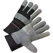 Anchor Brand Leather Palm Gloves, Cotton, Denim Safety Cuff, Large, Black/Gray