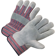 Anchor Brand Leather Palm Gloves, Split Cowhide, Rubberized Safety Cuff, Large, Pearl Grey