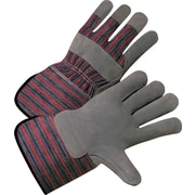 Anchor Brand Leather Palm Gloves, Split Cowhide, Rubberized Gauntlet Cuff, Large, Pearl Grey