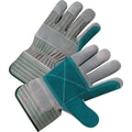 Anchor Brand Palm Gloves, Leather, Rubberized Safety Cuff, Large, Pearl Grey
