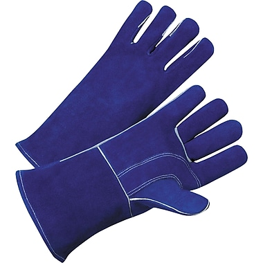 Anchor Brand Standard Welding Gloves, Leather, Gauntlet Cuff, Large, Blue, 12 Pairs