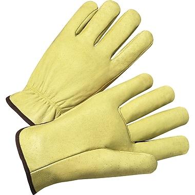 Anchor Brand Standard Driver Gloves, Grain Pigskin, Hemmed Cuff, 12 Pair