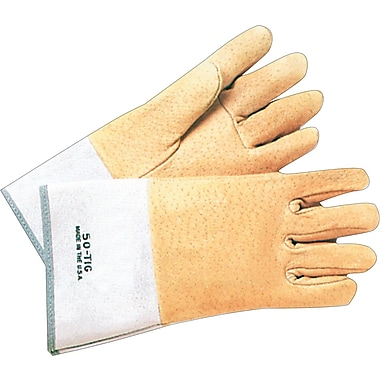 Anchor Brand Standard Tig Welding Gloves, Pigskin, Safety Cuff, Large, Tan