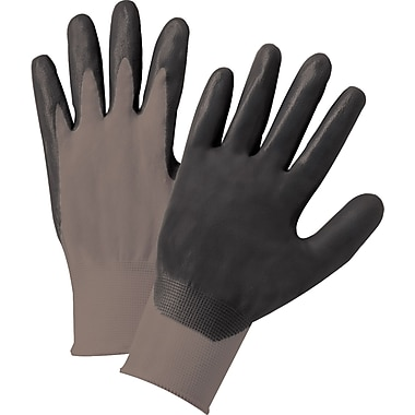 Anchor Brand Coated Gloves, Nitrile, Knit-Wrist Cuff, Grey/Black