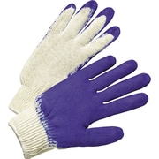 Anchor Brand Latex Coated Gloves, Cotton, Knit-Wrist Cuff, Men's Size, White/Blue