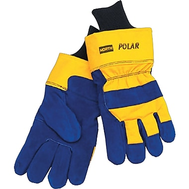 North® Polar® Insulated Gloves, Leather, Safety Cuff, Large, Blue/Yellow