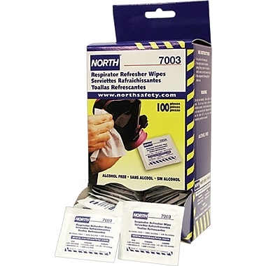 "North Safety Respirator Cleaning Wipes, 5"" x 7"", 100/Box"