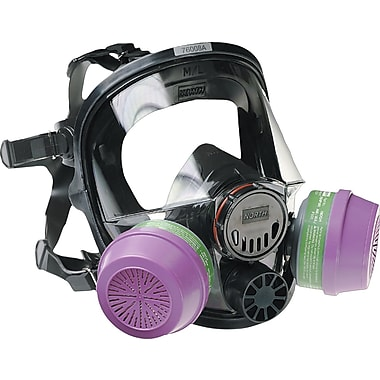 North Safety Full Facepiece Respirator, Hard-Coated Polycarbonate, Regular