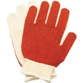North® Smitty® Coated Gloves, Nitrile, Knit-Wrist Cuff, Medium, White/Red
