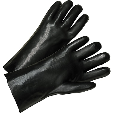 Anchor Brand Coated Gloves, PVC, Gauntlet Cuff, Men's Size, Black, 12in., 12 Pairs
