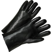 Anchor Brand Coated Gloves, PVC, Gauntlet Cuff, Men's Size, Black, 14, 12 Pairs