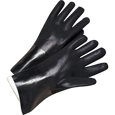 Anchor Brand Coated Gloves, PVC, Jersey Lined, Gauntlet Cuff, Men's Size, Black, 14in., 12 Pairs