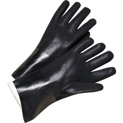Anchor Brand Coated Gloves, PVC, Jersey Lined, Gauntlet Cuff, Men's Size, Black, 14, 12 Pairs