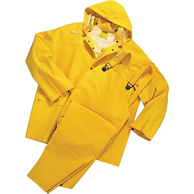 Anchor Brand Rainsuit, PVC/Polyester, L Size, Front Closure, Yellow