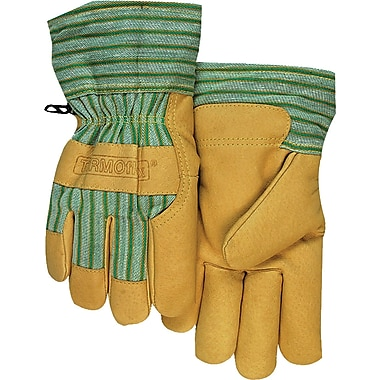 Anchor Brand Leather Palm Cold Weather Gloves, Pigskin, Rubberized Cuff, X-Large, Green/Tan