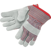 Memphis Gloves® Shoulder Split Gloves, Gunn Pattern Leather, Safety Cuff, Large, Red/Grey
