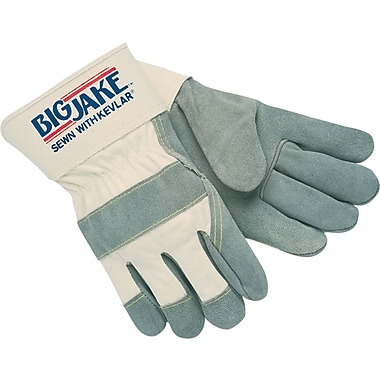 Memphis Gloves® Big Jake® Heavy-Duty Side Split Gloves, Leather, Safety Cuff, Large, White