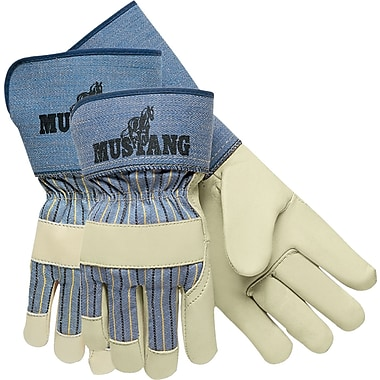 Memphis Gloves® Mustang® Palm Gloves, Cowhide Leather, Gauntlet Cuff, Medium, White