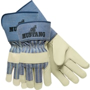 Memphis Gloves® Mustang® Palm Gloves, Cowhide Leather, Safety Cuff, Medium, White