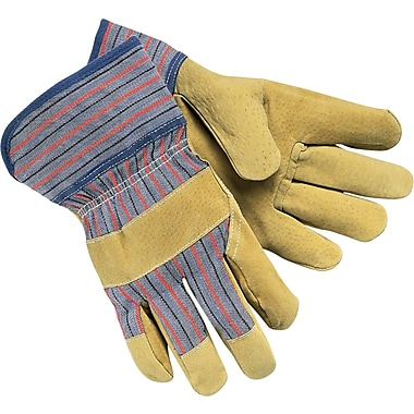 Memphis Gloves® Palm Gloves, Pigskin Leather, Safety Cuff, Large, Cream
