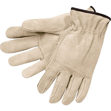 Memphis Gloves® Driver's Gloves, Split Cow Leather, Slip-On Cuff, Large, Russet, 12 Pairs
